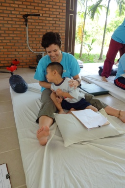Providing community massage in Chiang Mai, Thailand