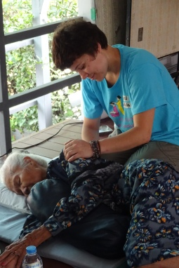 Providing community Thai massage in Chiang Mai, Thailand